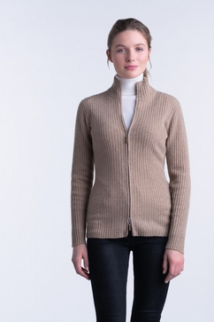 100% Cashmere woman ribbed zip-up cardigan. Single ply,