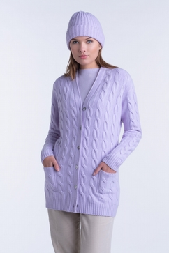 Long 100% Cashmere woman V-neck cable cardigan. 2-Ply,