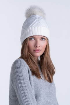 100% Cashmere cap with detachable fur pompom. One size only