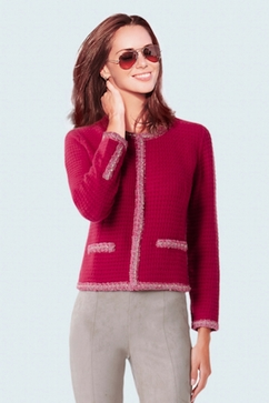 100% Cashmere short knitted jacket with golden chain trim.