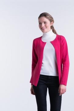 Cardigan court bicolore réversible en 100% Cachemire. Modèle