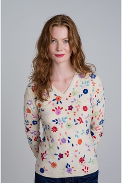 100% Cashmere knitted V-neck with multicolour floral