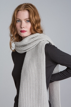 Thick knit rib cashmere scarf. For men & women. One size