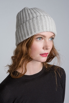 6-Ply knitted rib cashmere cap. For men & women. One size