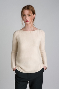 100% Cashmere woman sweater with horizontal rib and sequins.