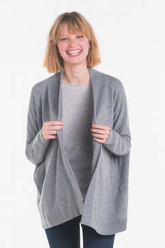 Woman cashmere shawl collar cardigan. Single ply, wide