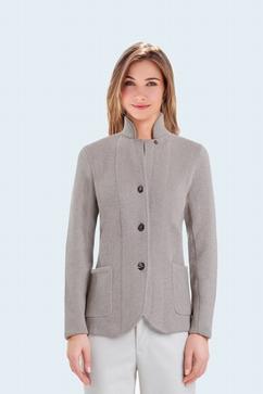 100% Cashmere Mao collar buttoned cardigan. 2 pockets.
