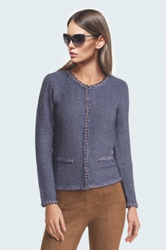 100% Cashmere short weft jacket with crew neck and golden