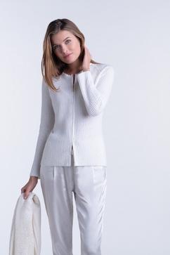 100% Cashmere full stitch sequined zip-up crew cardigan.