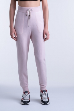 Woman 2 pockets jog pants in pure cashmere single ply.