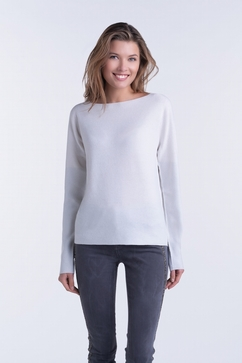 100% Cashmere woman honeycomb boat neck sweater with