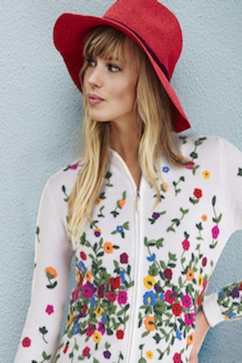 100% Cashmere multicolor floral embroidered zip-up cardigan.