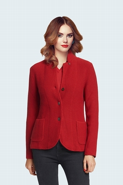 Woman honeycomb Mao collar buttoned cardigan. 100% Cashmere
