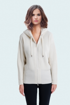 100% Cashmere English knit hooded zip-up cardigan. Woman