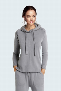 100% Cashmere silver chain hoodie. Straight shape. Entirely