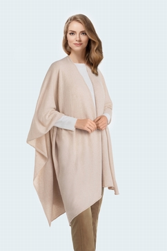 Woman seamless cashmere cape with tone on tone lurex