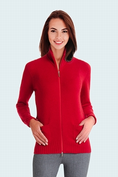 2-Ply fitted cashmere mock neck zip-up. Entirely