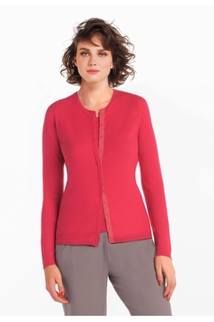Light cashmere fitted crew neck cardigan with matching tank.