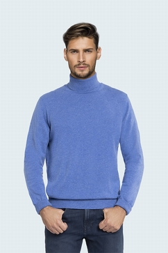 Classic turtle neck for men in 100% Cashmere single ply.