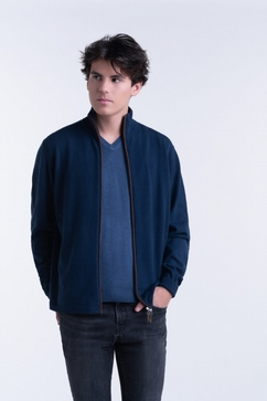 100% Cashmere zip-up cardigan for men. Contrasted alcantara