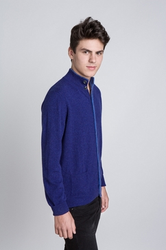 Cardigan Homme col montant en maille 100% Cachemire. Forme