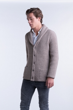 100% Cashmere men shawl collar cardigan. 3-Ply, 2 pockets.