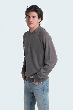 100% Cashmere hoodie for men. Single Ply. Entirely