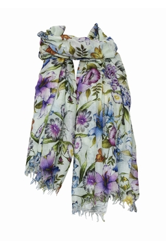 Extrafine printed stole in 80% Cashmere 20% Silk. Floral