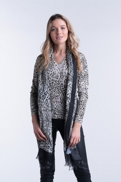 Superfine woman printed V neck sweater in 80% Cashmere & 20%