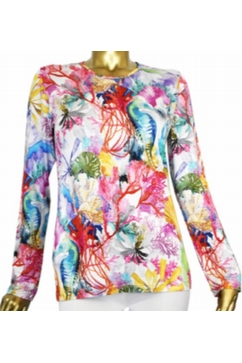 Superfine woman printed crew neck sweater in 80% Cashmere &