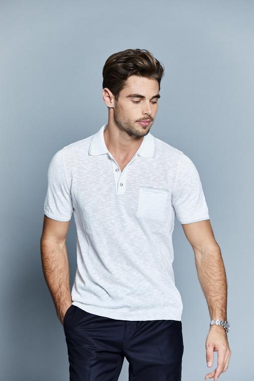 Polo en coton by Spontini pour homme. - Col polo ouvert. -