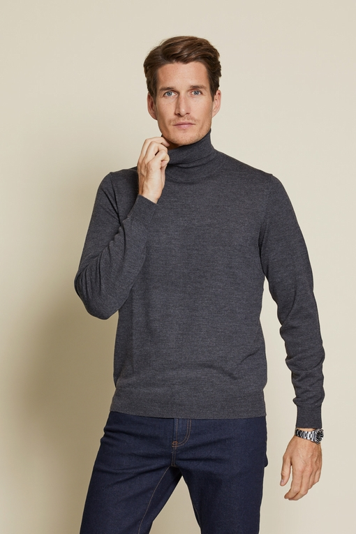 Pull col roule en laine by Spontini pour homme. - Coupe