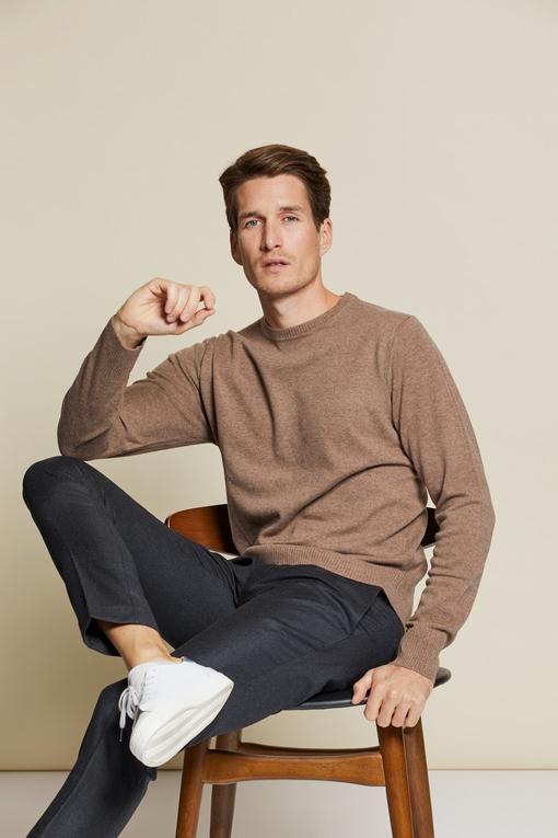 Pantalon flanelle, by spontini - coupe ajustée - 100% laine