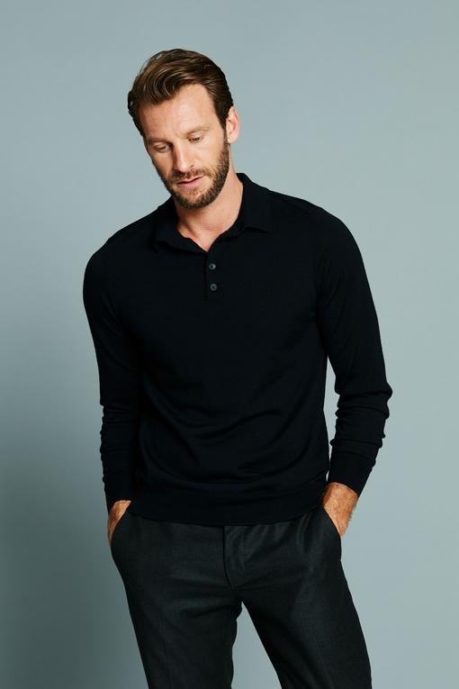 Polo en laine by Spontini pour homme. - Manches longues -