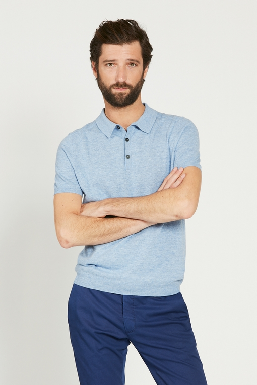Polo en coton by Spontini pour homme. - Col fermeture,