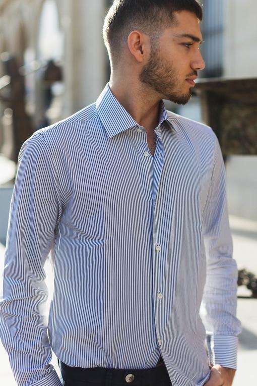 Chemise slim-fit coton pour homme. - Manches longues -