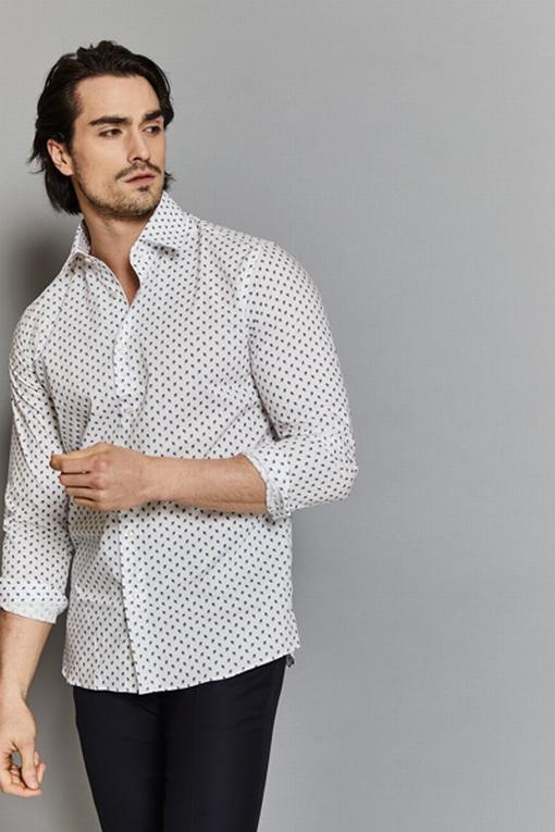 Chemise slim-fit imprimée coton pour homme. - 100% coton