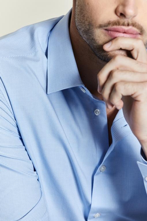 Chemise slim-fit en coton pour homme. - Manches longues -