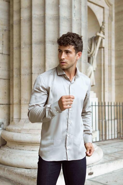 Chemise en coton pour homme. - Manches longues - Pattes
