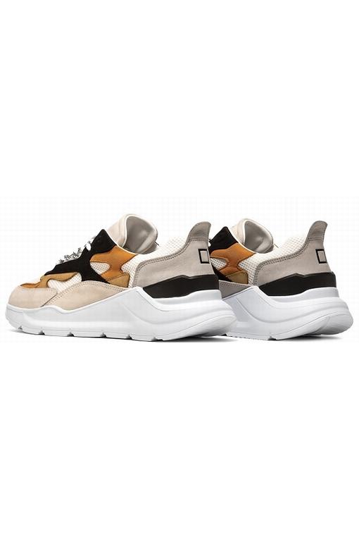Sneakers running en mesh blanc avec détails en nabuk dans la