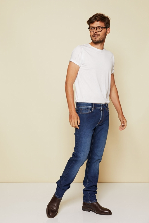 Jeans By Spontini - cinq poches - fermeture par zip - coupe