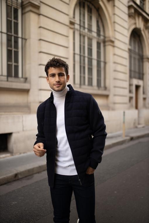 Blouson en daim et maille by spontini - Coupe casual -